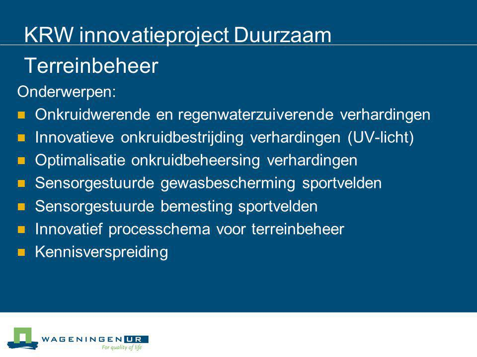 KRW innovatieproject Duurzaam Terreinbeheer