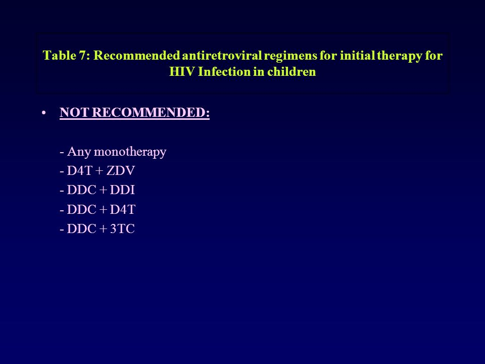 Table 7: Recommended antiretroviral regimens for initial therapy for HIV Infection in children