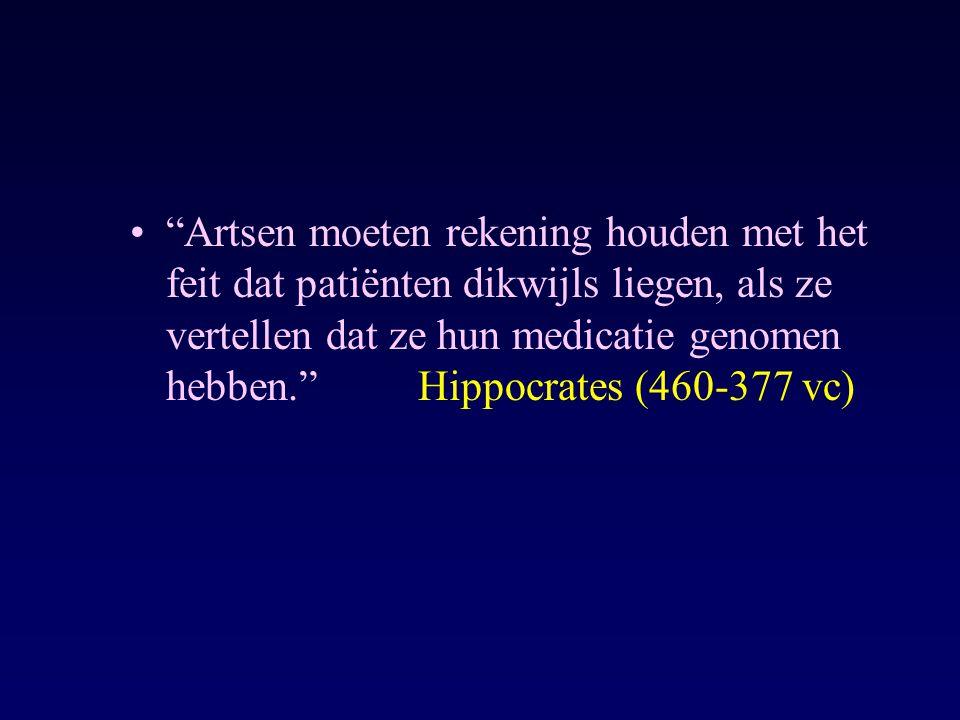 Artsen moeten rekening houden met het feit dat patiënten dikwijls liegen, als ze vertellen dat ze hun medicatie genomen hebben. Hippocrates (460-377 vc)