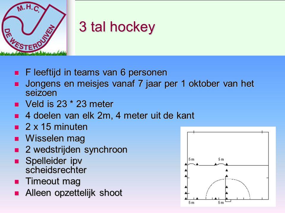 3 tal hockey F leeftijd in teams van 6 personen