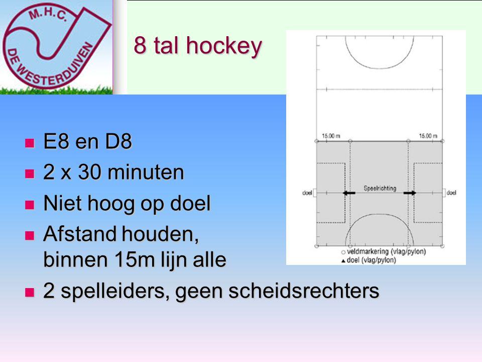 8 tal hockey E8 en D8 2 x 30 minuten Niet hoog op doel