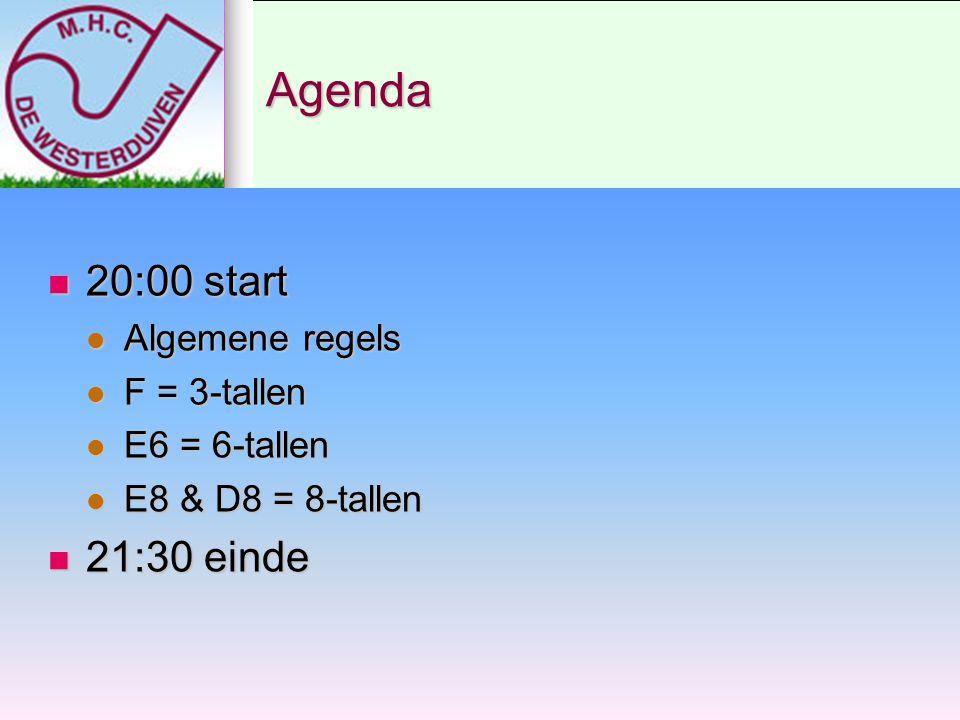 Agenda 20:00 start 21:30 einde Algemene regels F = 3-tallen