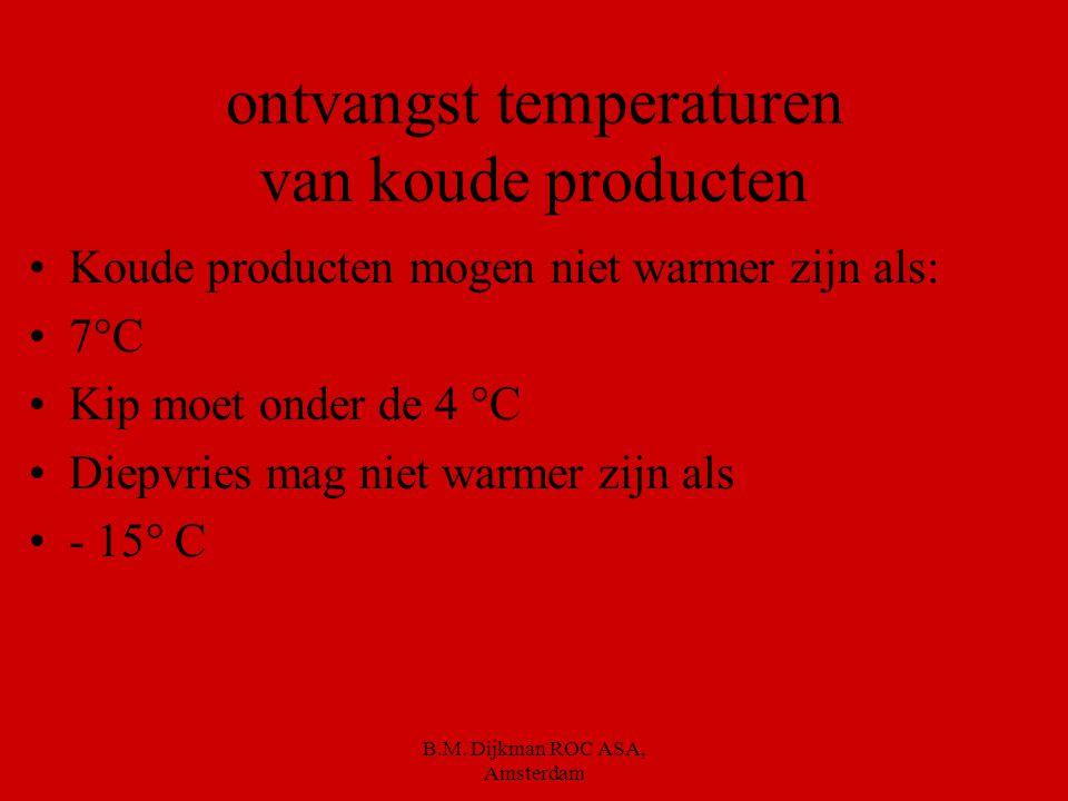 ontvangst temperaturen van koude producten