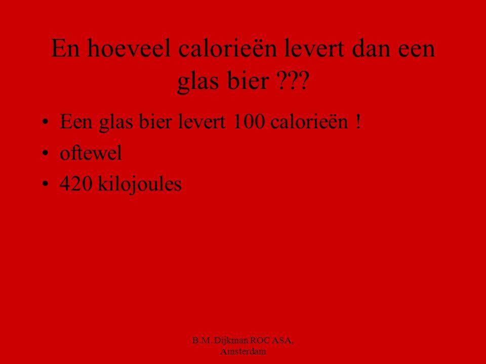En hoeveel calorieën levert dan een glas bier