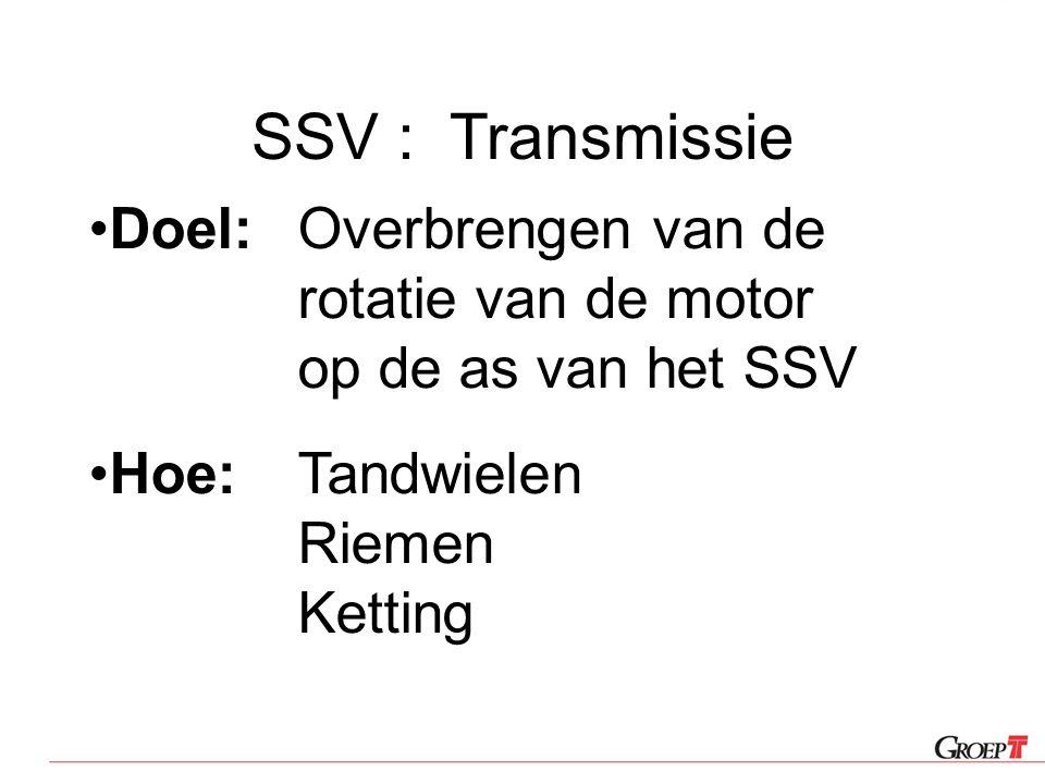 SSV : Transmissie Doel: Overbrengen van de rotatie van de motor op de as van het SSV.