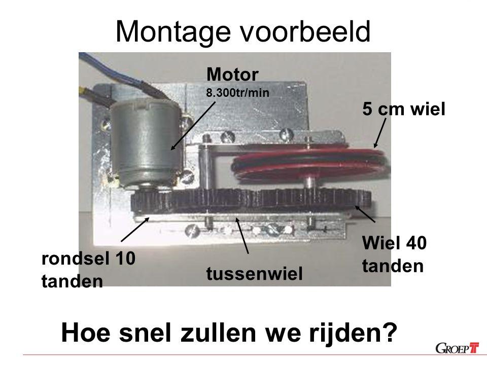 Montage voorbeeld Hoe snel zullen we rijden Motor 8.300tr/min