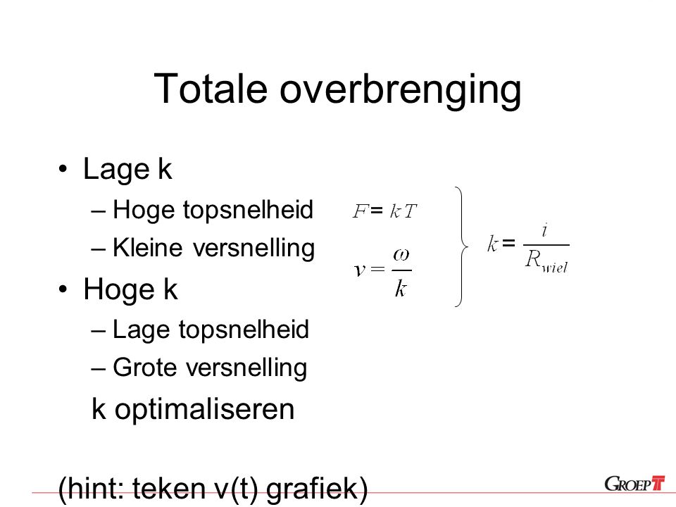 Totale overbrenging Lage k Hoge k k optimaliseren