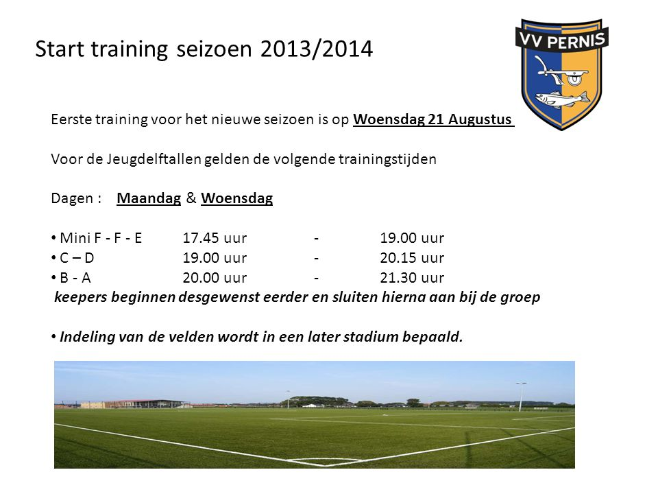 Start training seizoen 2013/2014
