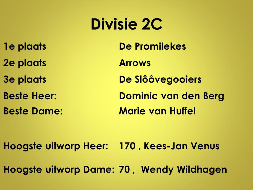 Divisie 2C 1e plaats De Promilekes 2e plaats Arrows 3e plaats