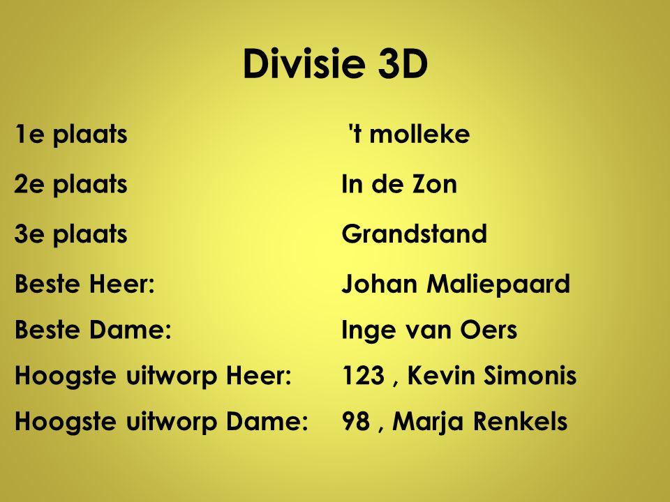 Divisie 3D 1e plaats t molleke 2e plaats In de Zon 3e plaats