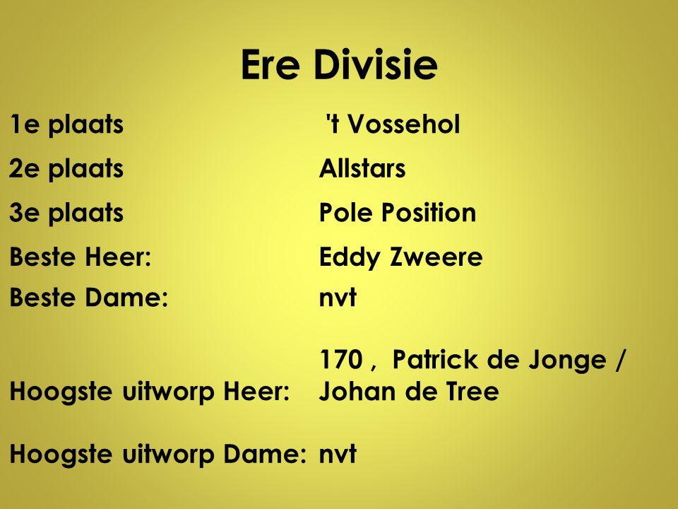 Ere Divisie 1e plaats t Vossehol 2e plaats Allstars 3e plaats