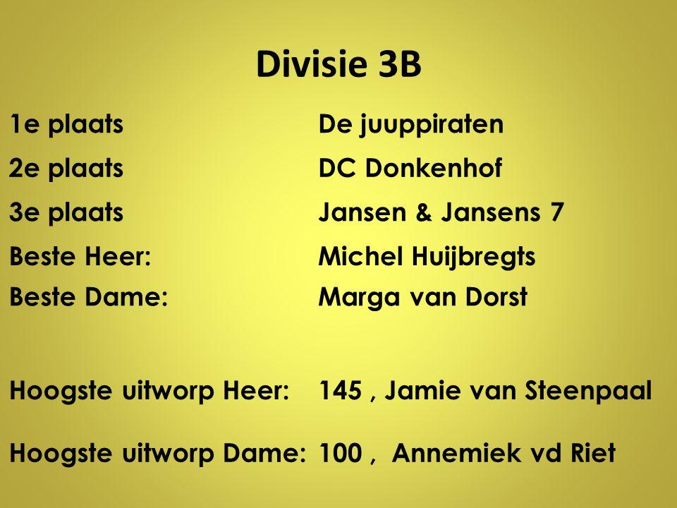 Divisie 3B 1e plaats De juuppiraten 2e plaats DC Donkenhof 3e plaats