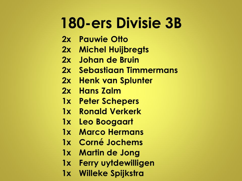 180-ers Divisie 3B 2x Pauwie Otto Michel Huijbregts Johan de Bruin