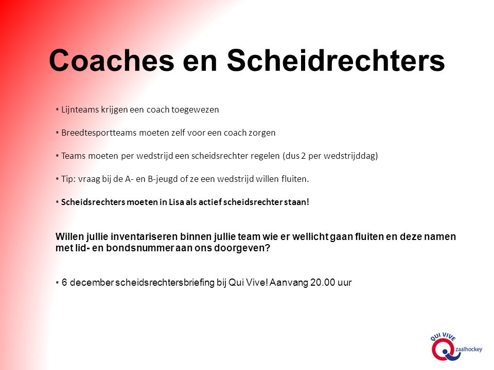 Coaches en Scheidrechters