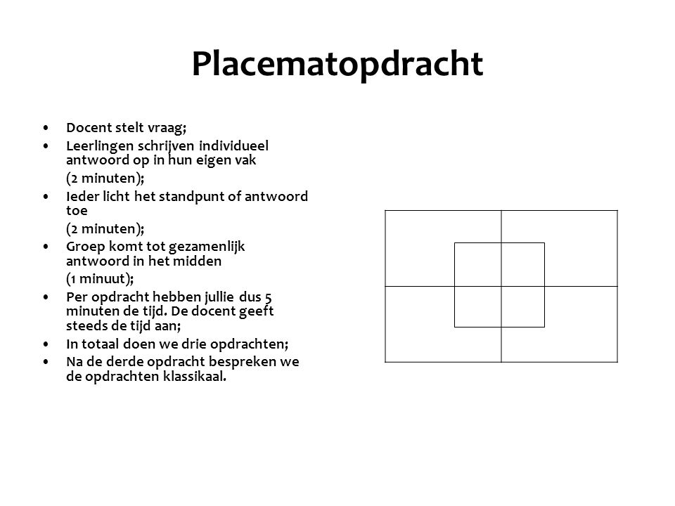 Placematopdracht Docent stelt vraag;