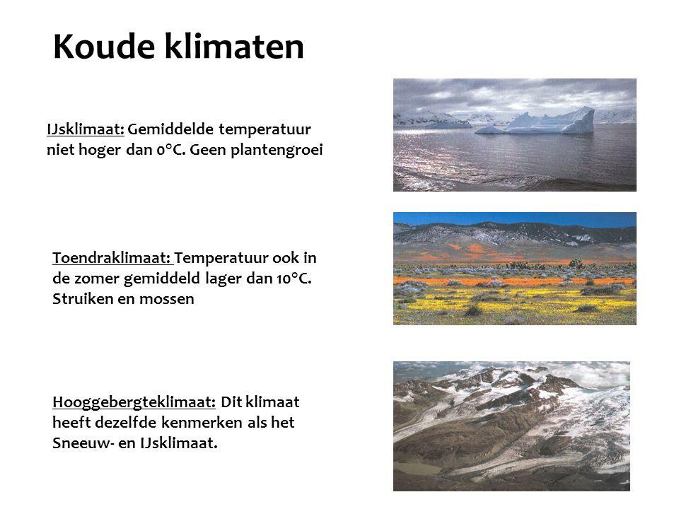 Koude klimaten IJsklimaat: Gemiddelde temperatuur niet hoger dan 0°C. Geen plantengroei.