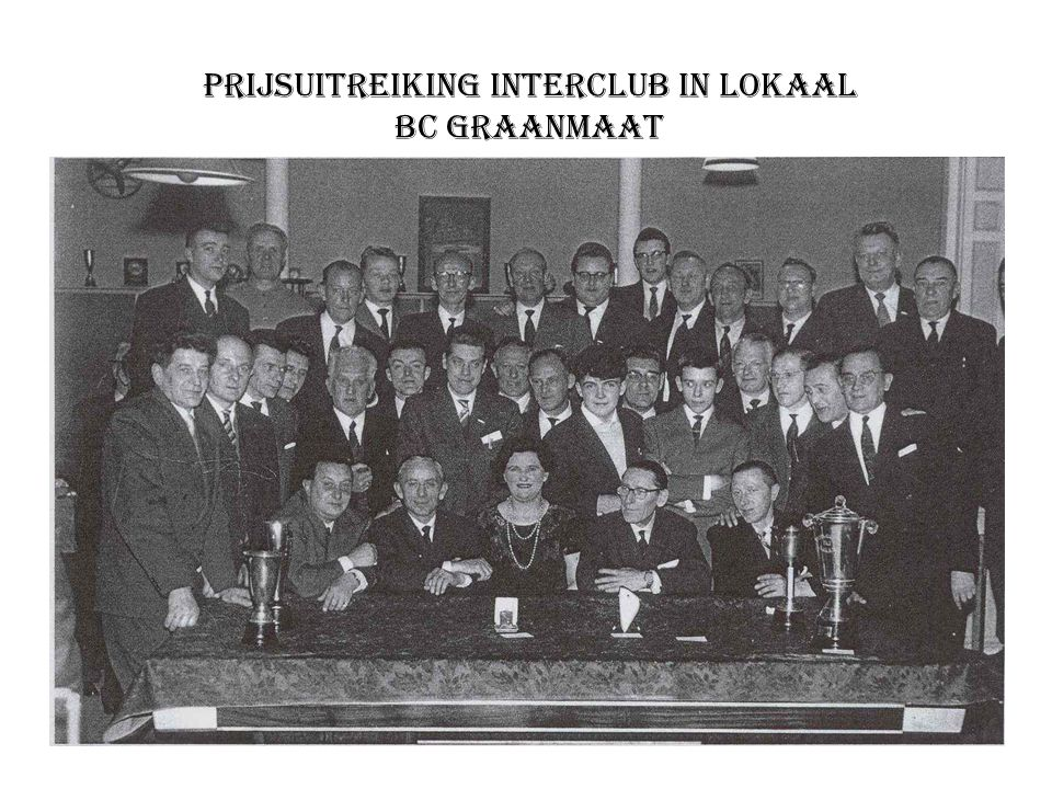 Prijsuitreiking interclub in lokaal bc Graanmaat