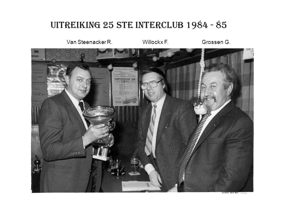 Uitreiking 25 ste interclub 1984 - 85