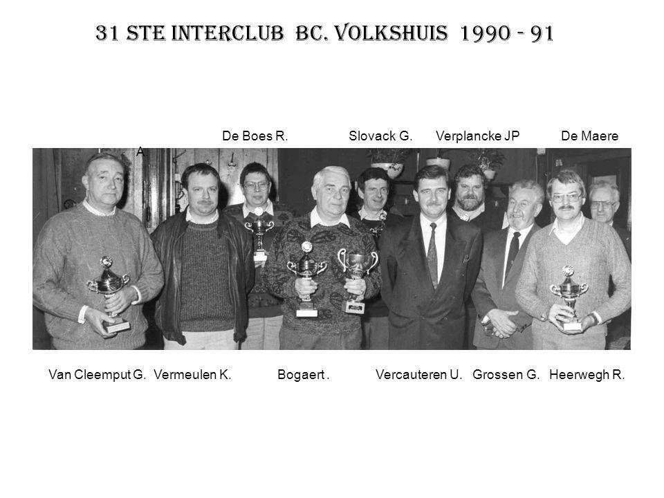 31 ste interclub BC. Volkshuis 1990 - 91