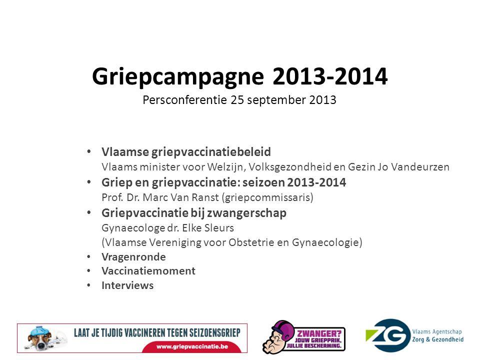 Griepcampagne 2013-2014 Persconferentie 25 september 2013