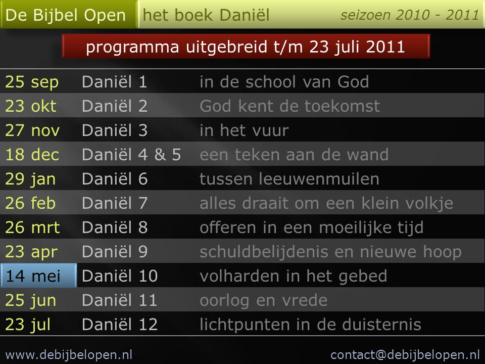 programma uitgebreid t/m 23 juli 2011