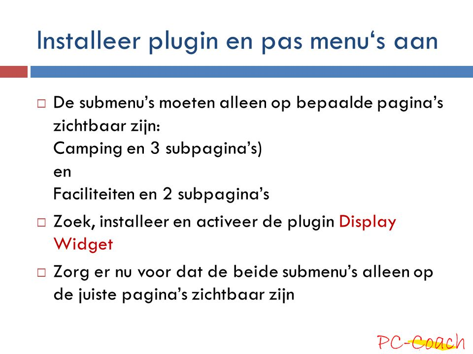 Installeer plugin en pas menu's aan