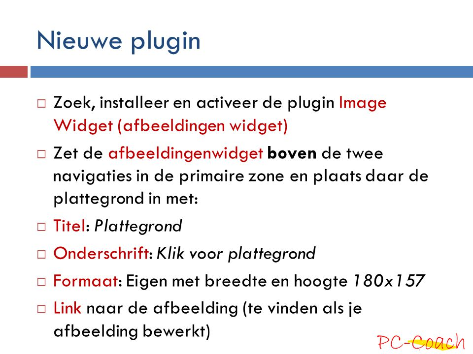 Nieuwe plugin Zoek, installeer en activeer de plugin Image Widget (afbeeldingen widget)