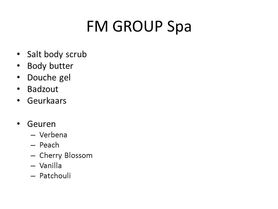 FM GROUP Spa Salt body scrub Body butter Douche gel Badzout Geurkaars