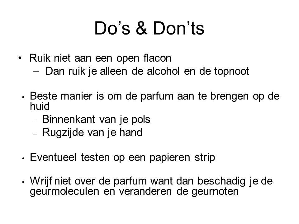 Do's & Don'ts Ruik niet aan een open flacon