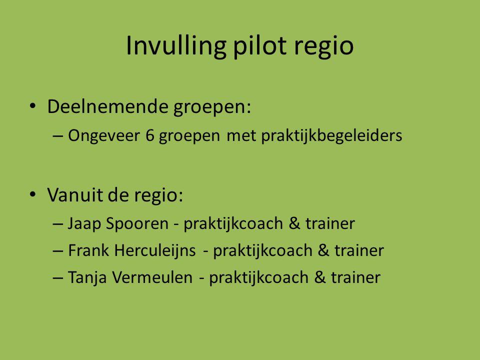 Invulling pilot regio Deelnemende groepen: Vanuit de regio: