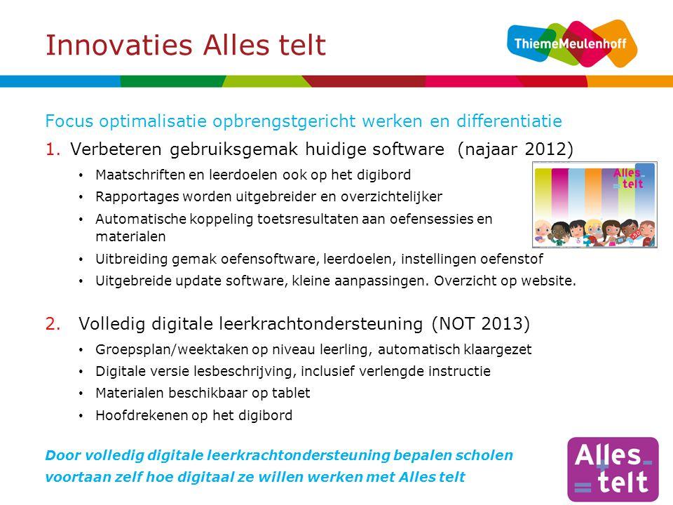 Innovaties Alles telt Focus optimalisatie opbrengstgericht werken en differentiatie. Verbeteren gebruiksgemak huidige software (najaar 2012)