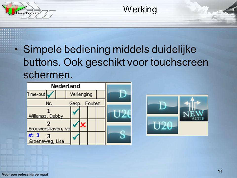 Werking Simpele bediening middels duidelijke buttons. Ook geschikt voor touchscreen schermen.