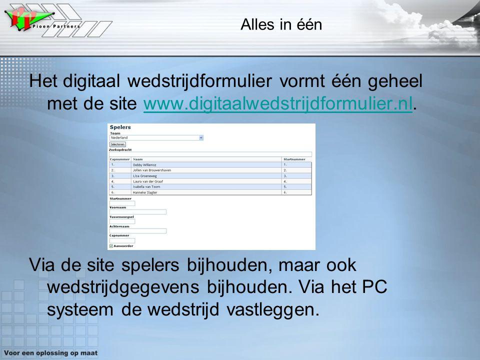 Alles in één Het digitaal wedstrijdformulier vormt één geheel met de site www.digitaalwedstrijdformulier.nl.