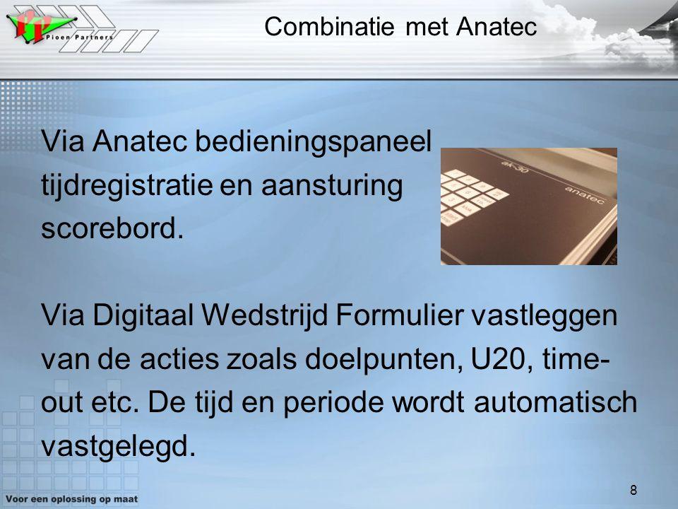Via Anatec bedieningspaneel tijdregistratie en aansturing scorebord.