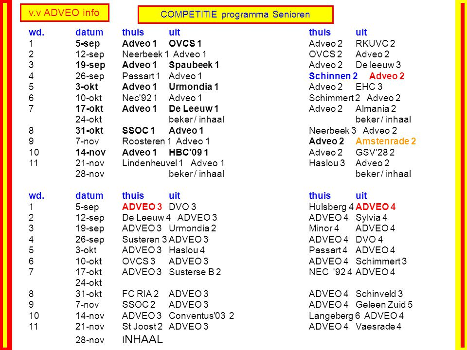 COMPETITIE programma Senioren