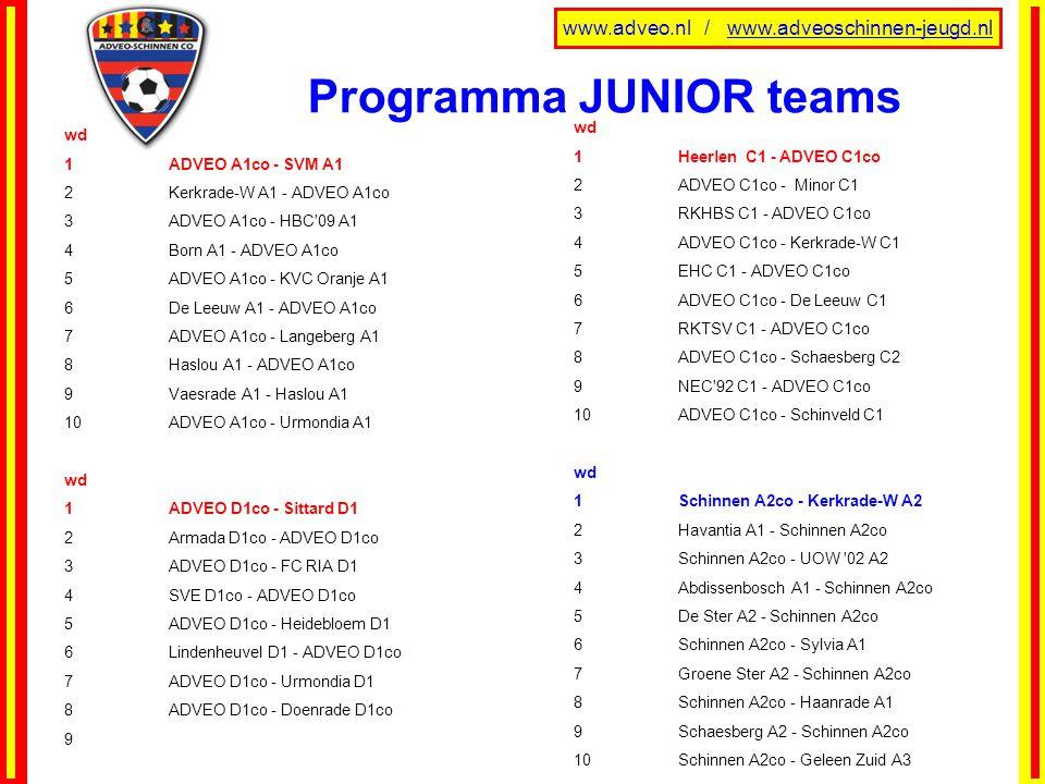 Programma JUNIOR teams