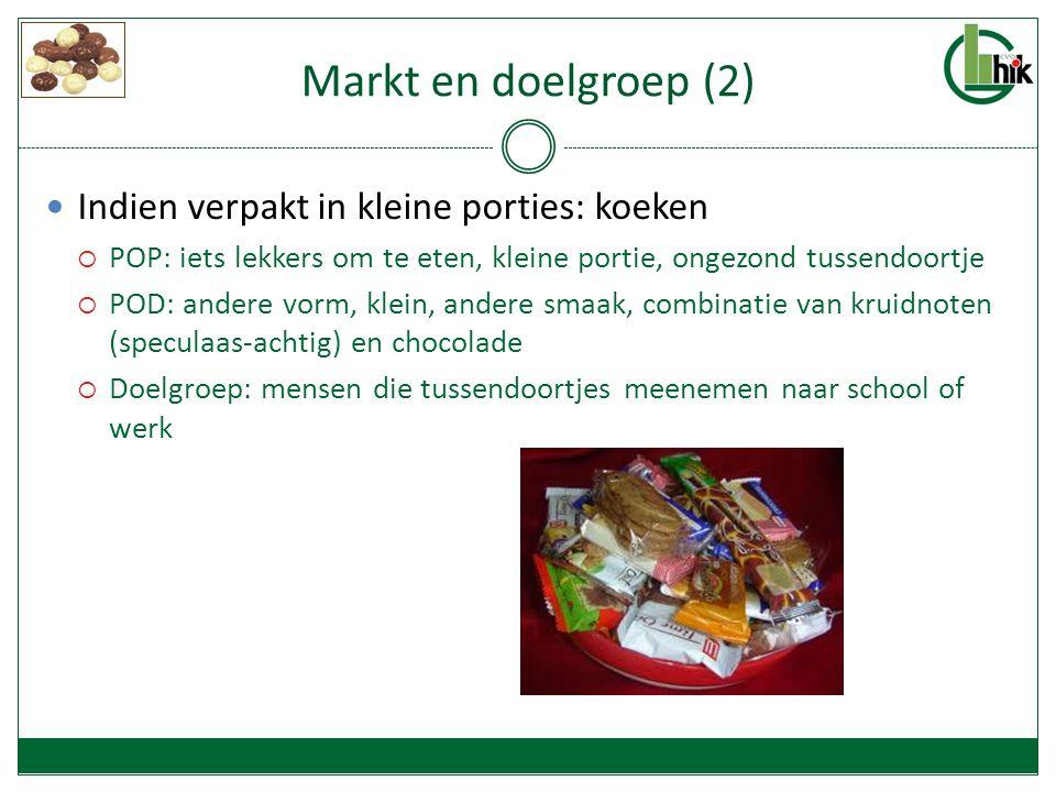 Markt en doelgroep (2) Indien verpakt in kleine porties: koeken