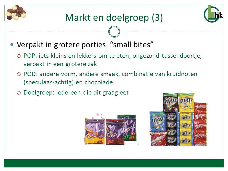 Markt en doelgroep (3) Verpakt in grotere porties: small bites