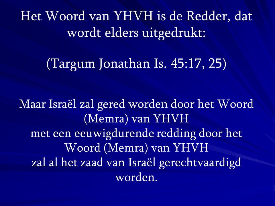 Het Woord van YHVH is de Redder, dat wordt elders uitgedrukt: