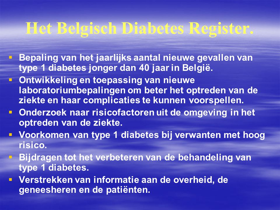 Het Belgisch Diabetes Register.