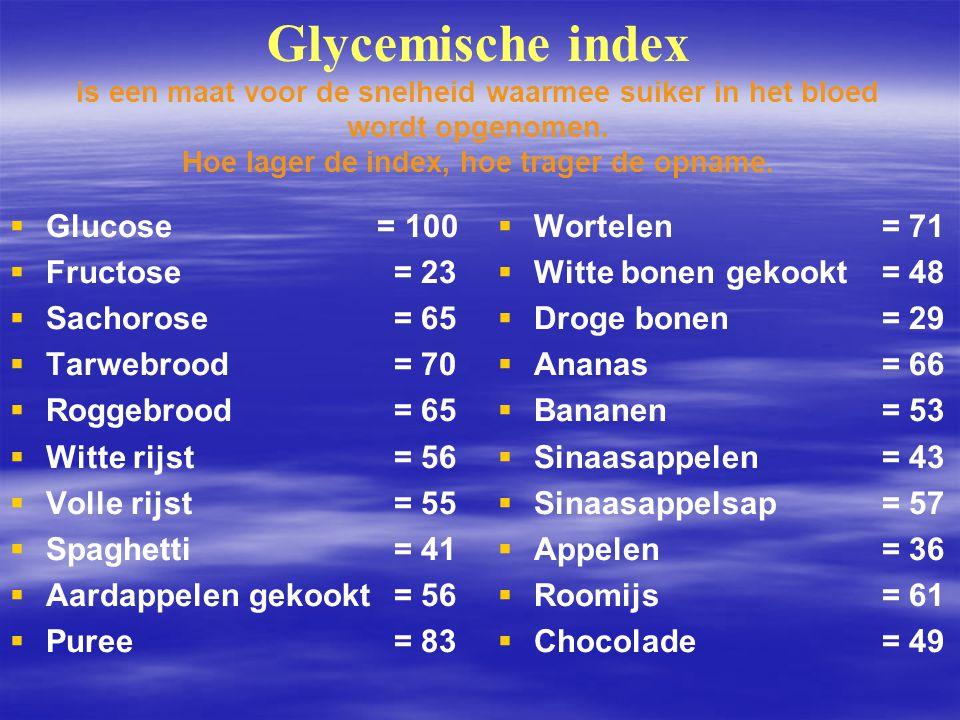Glycemische index is een maat voor de snelheid waarmee suiker in het bloed wordt opgenomen. Hoe lager de index, hoe trager de opname.