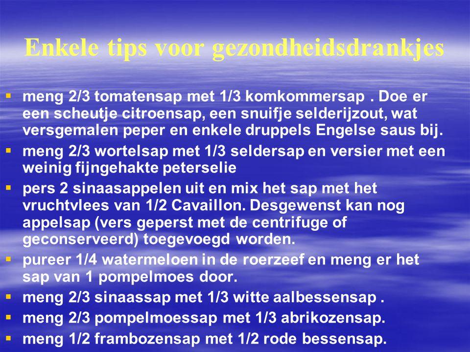 Enkele tips voor gezondheidsdrankjes