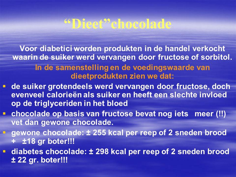 Dieet chocolade Voor diabetici worden produkten in de handel verkocht waarin de suiker werd vervangen door fructose of sorbitol.