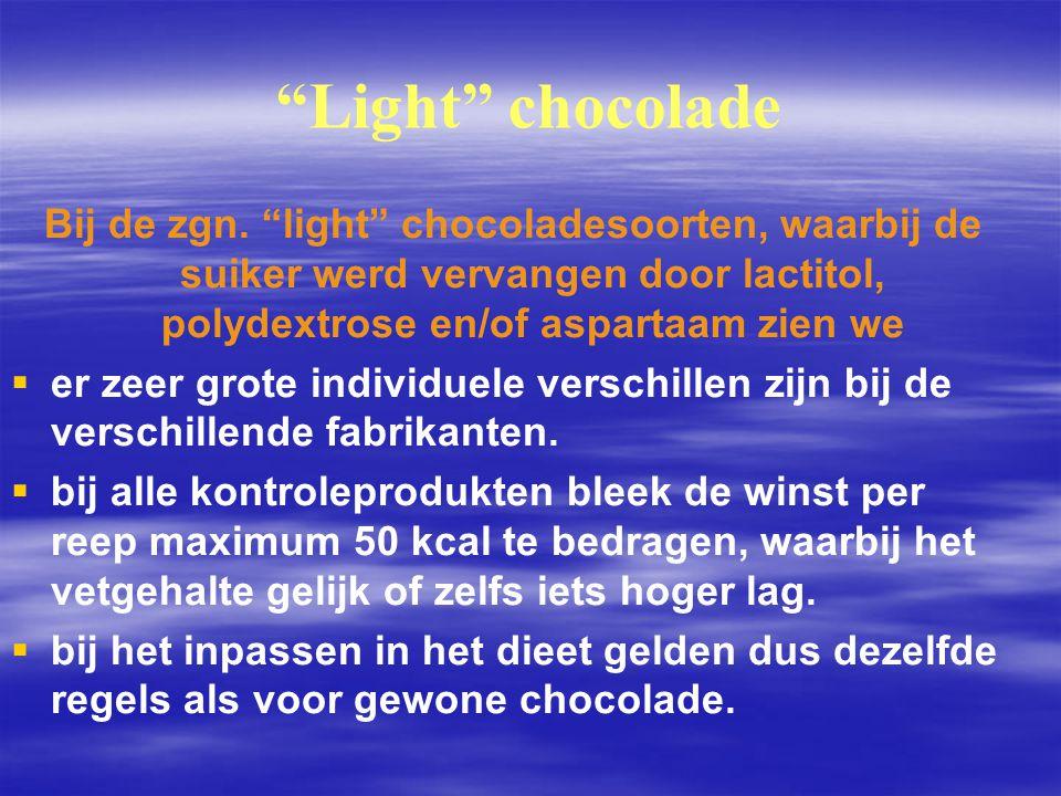 Light chocolade Bij de zgn. light chocoladesoorten, waarbij de suiker werd vervangen door lactitol, polydextrose en/of aspartaam zien we.