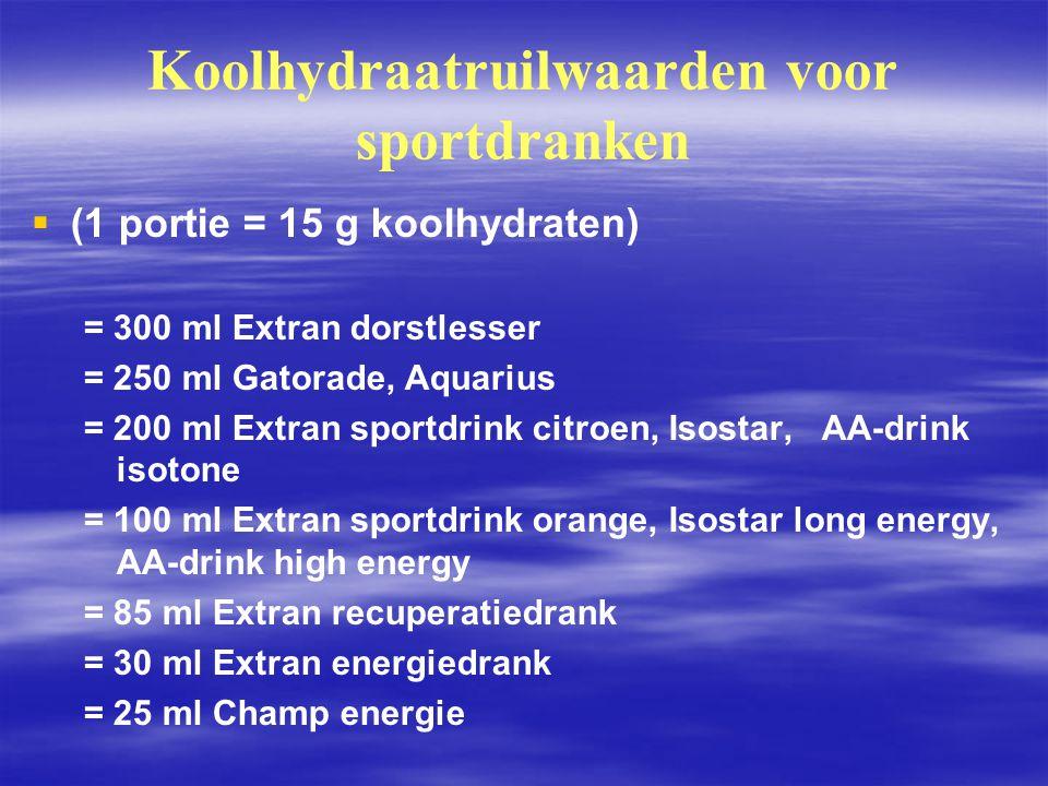 Koolhydraatruilwaarden voor sportdranken