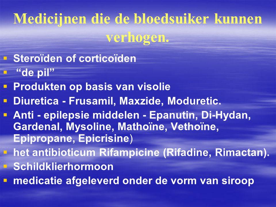 Medicijnen die de bloedsuiker kunnen verhogen.