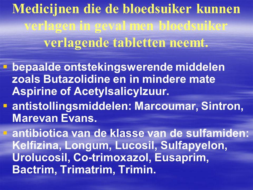 Medicijnen die de bloedsuiker kunnen verlagen in geval men bloedsuiker verlagende tabletten neemt.