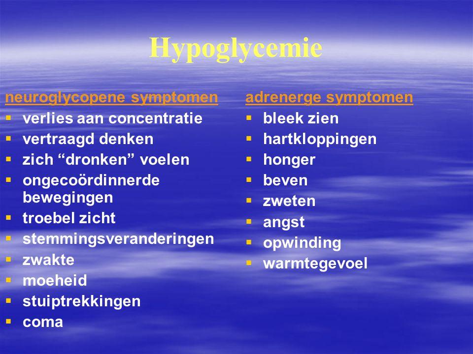 Hypoglycemie neuroglycopene symptomen verlies aan concentratie