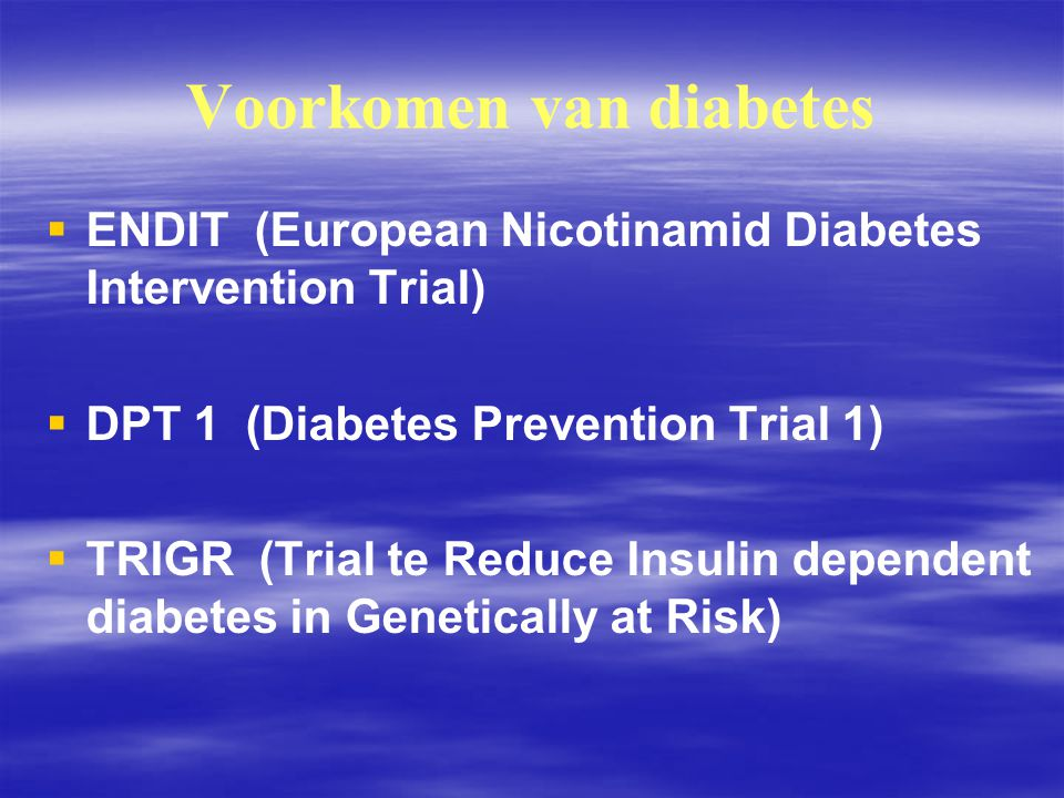 Voorkomen van diabetes