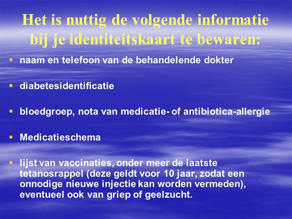 Het is nuttig de volgende informatie bij je identiteitskaart te bewaren: